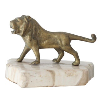 Vintage Mid-Century Brass Lion Paperweight