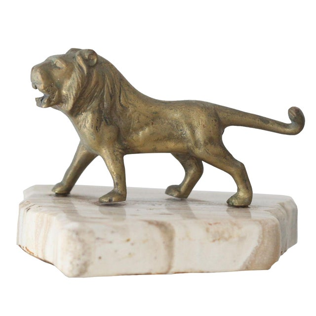 Image of Vintage Mid-Century Brass Lion Paperweight