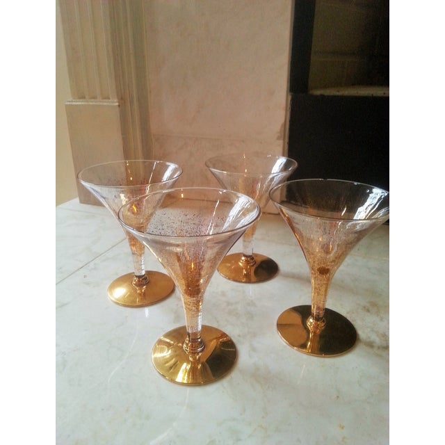 Dorothy Thorpe Cocktail Glasses W/ Gold Flecks - 4 - Image 2 of 10