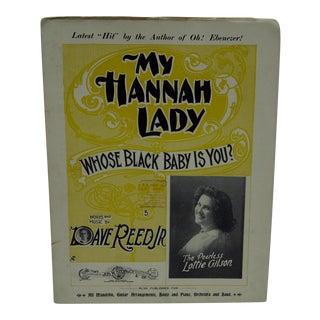 "Vintage ""My Hannah Lady"" Sheet Music"