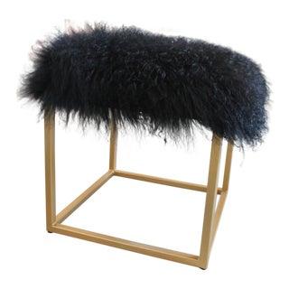 Moss Studios Black Mongolian Fur Ottoman