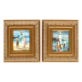 Pasargad NY Hand Painted Oil on Canvas Mother & Children - A Pair