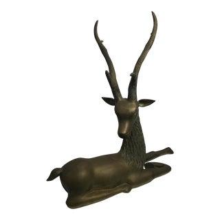 Life Size Brass Reindeer Statue
