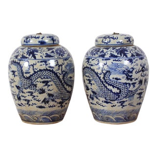 Vintage Sarreid LTD Blue & White Ginger Jars - A Pair