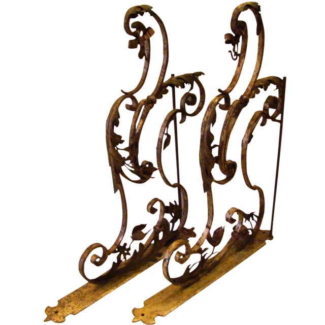 19th-C. Upholstery Door Brackets - A Pair - Image 1 of 10