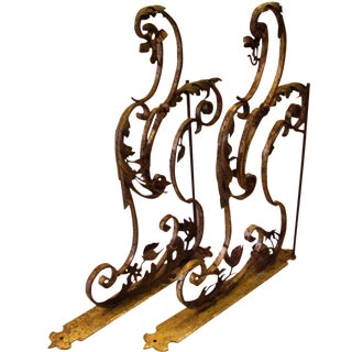 19th-C. Upholstery Door Brackets - A Pair