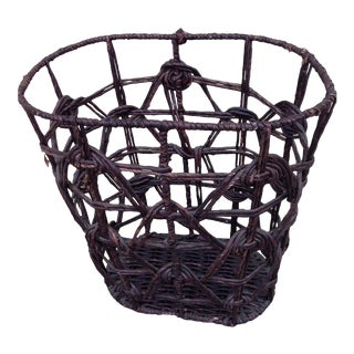 Boho Chic Knotted Rope & Wicker Basket
