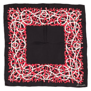 Kenneth Jay Lane Black Coral Pearl Silk Scarf