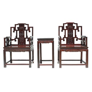 Vintage Chinese Reddish Brown Rosewood Carved Armchair Set