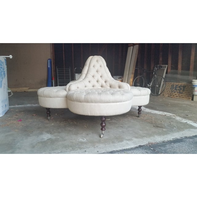 Image of George Smith Conversation Linen Sofa with Nailhead