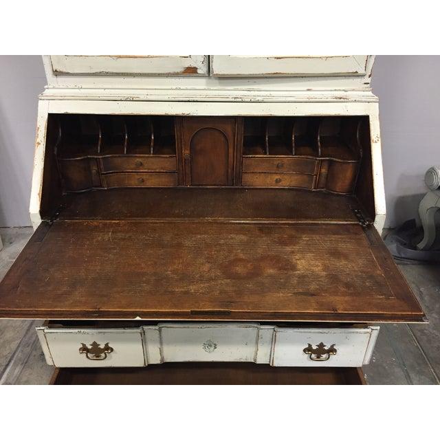 Image of Antique Secretary Hutch Desk, White
