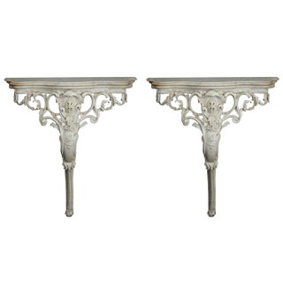 Pair French Wall-Mounted Highly Carved Consoles with Marble Tops