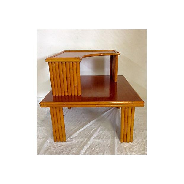 Paul Frankl Style 2-Tier Rattan Table - Image 2 of 7