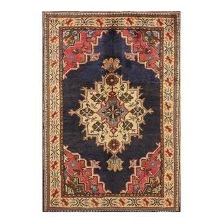 "Vintage Turkish Anatolian Wool Rug - 3'10"" X 5'7"""