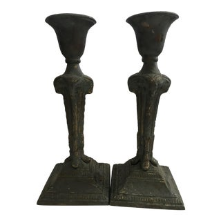 Brass Rams' Heads Candle Holders - A Pair