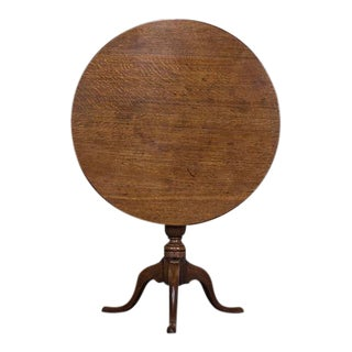 George III Antique English Oak Tilt Top Table circa 1790