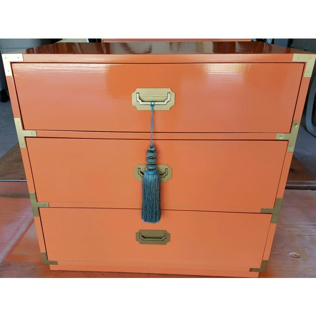 Orange Campaign Style Nightstands - A Pair - Image 6 of 8