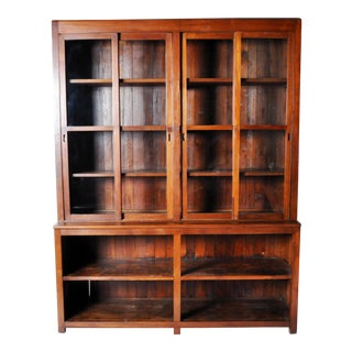 British Colonial Style Breakfront Bookcase