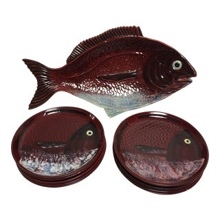 Mid-Century Fish Platter & Plates - Set of 11