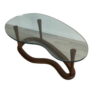 Mid-Century Walnut and Glass Kidney Coffee Table