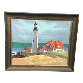 Lighthouse Oil on Board Painting