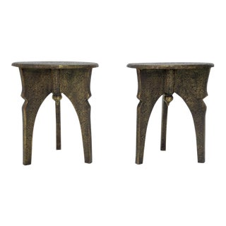 Indian Brass Encased End Tables - A Pair