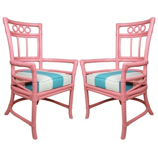 Ficks Reed Colony Pink Rattan Armchairs - a Pair