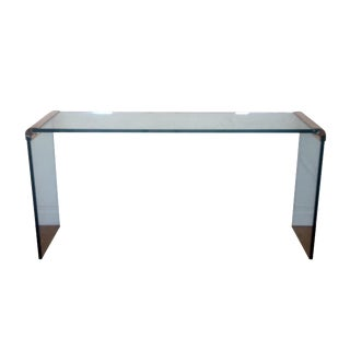 Pace for Leon Rosen Glass and Brass Console Table