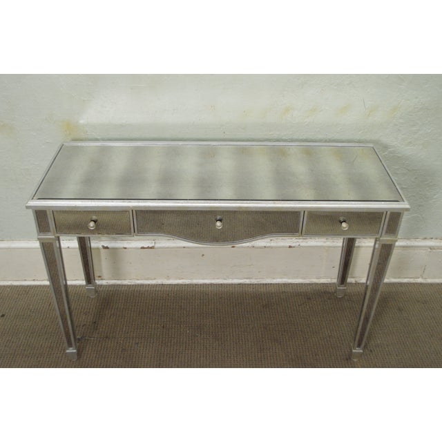 Lillian august hollywood regency style silver mirrored for Silver vanity table