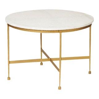 Round White Granite Topped Metal Coffee Table