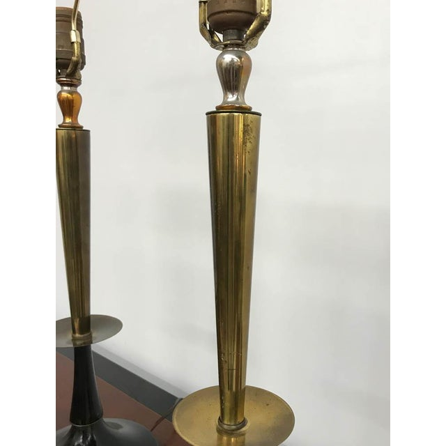 Mid Century Black and Brass Lamps - a Pair - Image 4 of 6
