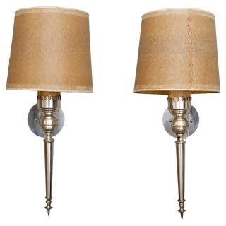 Pair Silver Tone Italian Neoclassical Sconces with Shades