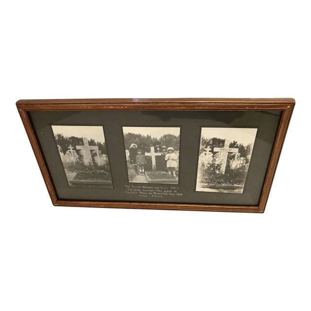 Antique French Funerary Scene Triptych - Image 1 of 7