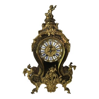 French Bronze Mounted Boulle Striking Mantel Clock