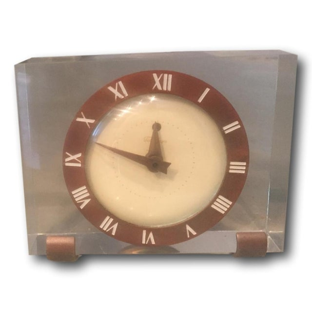 Vintage Lucite & Brass Mantle Desk Clock - Image 1 of 4