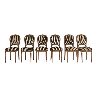 Forsyth One of a Kind Maison Jansen Louis XVI Dining Chairs in Zebra Hide - Set of 6