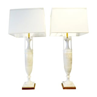 Italian Alabaster Urn Table Lamps - A Pair