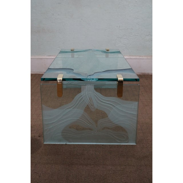 Custom Etched Glass Coffee Table - Image 3 of 10