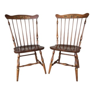 L. Hitchcock Maple Windsor Side Chairs - A Pair
