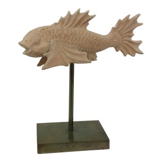 Vintage Italian Terra Cotta Fish on Metal Base