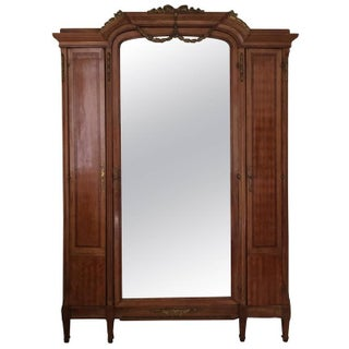 Edwardian Fruitwood Inlay and Mirrored Armoire