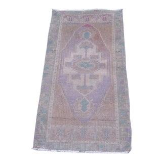 """Turkish Brown Wool Pile Small Vintage Rug - 1'7"""" x 3'2"""""""