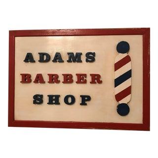 """Vintage """"Adams Barber Shop"""" Wood Sign"""