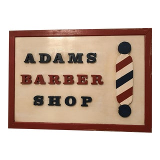 "Vintage ""Adams Barber Shop"" Wood Sign"