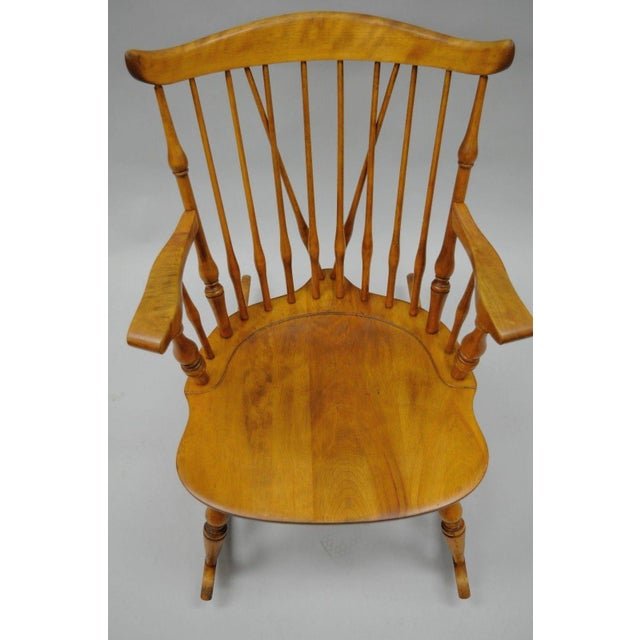 Colonial Traditional Vtg Nichols & Stone Maple Wood Windsor Rocking Chair Rocker - Image 4 of 11