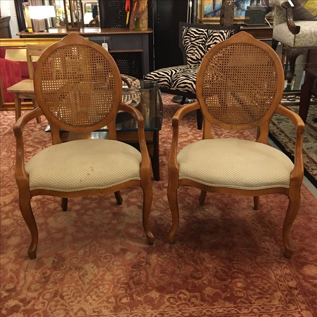 Cane Back Armchairs- A Pair - Image 2 of 10
