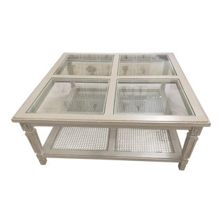 Glass Panel Coffee Table with Rattan Shelf