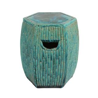 Turquoise Ceramic Bamboo Garden Stool