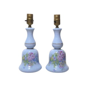Floral Baby Blue Table Lamps - A Pair