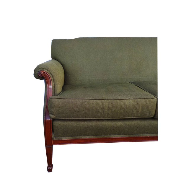 Hollywood Regency Vintage Wood Trimmed Sofa - Image 4 of 7